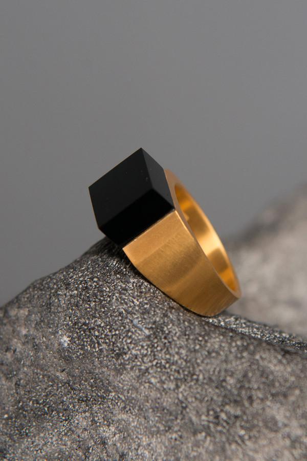Ming Yu Wang Brass Pixel Block Ring
