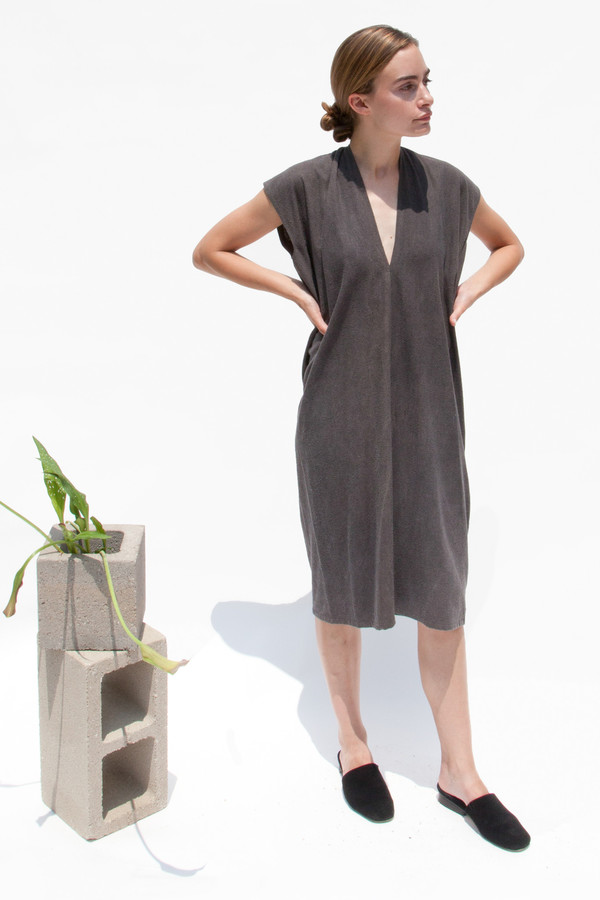 Miranda Bennett Everyday Dress, Silk Noil in Coal