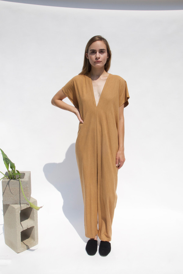 Miranda Bennett In-Stock: Everyday Jumpsuit, Silk Noil in Camel