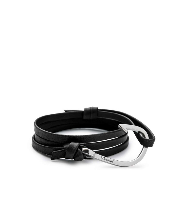 Miansai Hook on Leather Bracelet - Black