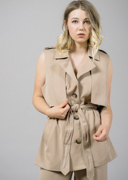 Ganni Brown Trench Detail Waistcoat