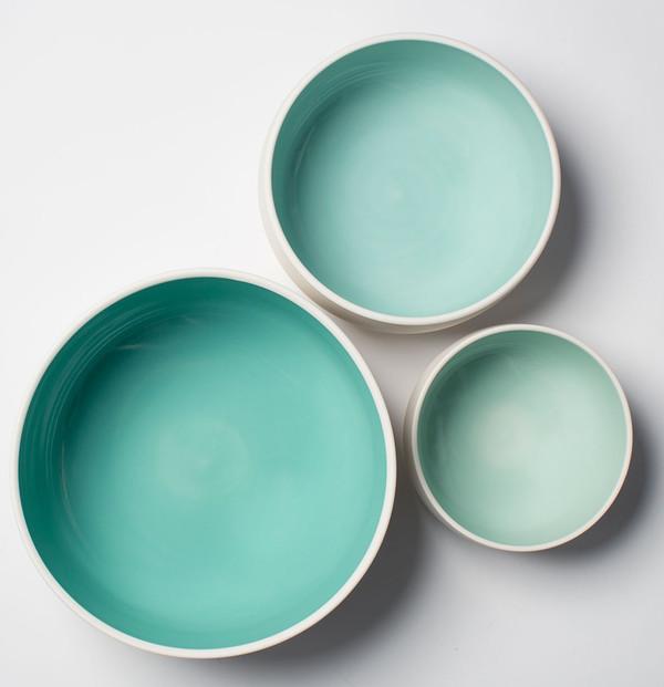 Pigeon Toe Ceramics Ombre Celedon Nesting Bowls