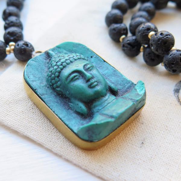 Tibetan Green Buddah Head Mala