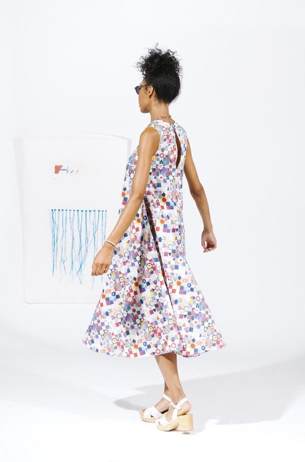 Carleen Gore Midi Dress - Quilt Print