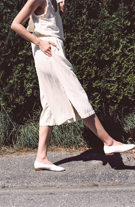 Black Crane Slit Wide Culotte - cream