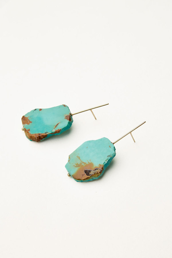 Kathleen Whitaker Sleeping Beauty Turquoise Slice Earrings