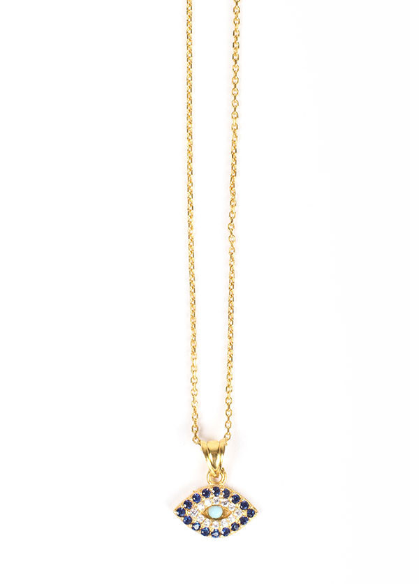 Blee Inara CZ Eye Charm Necklace in Plated Gold