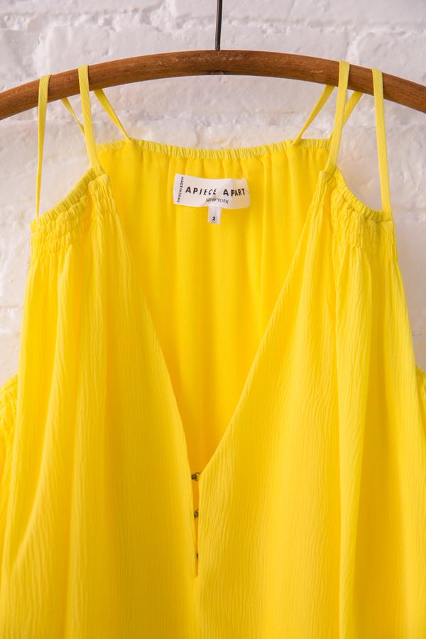 apiece apart appolonia cold shoulder dress