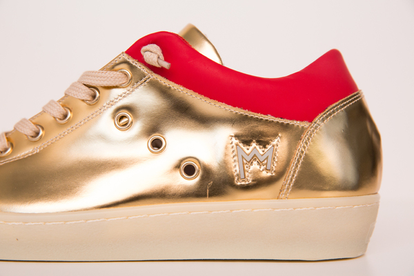 leather crown gold sneakers