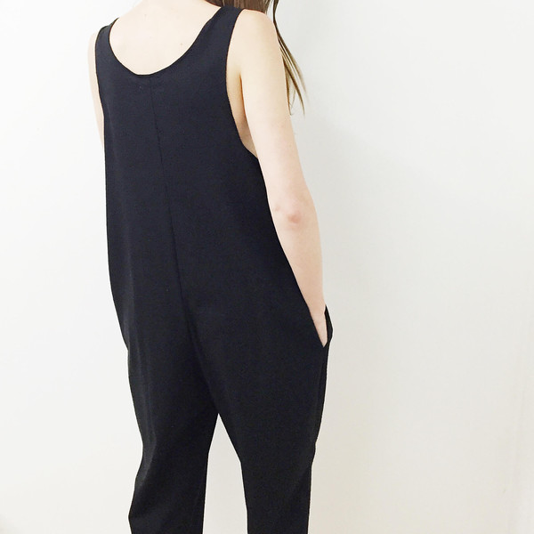 Laurs Kemp Black Raw Silk Ulli Jumpsuit