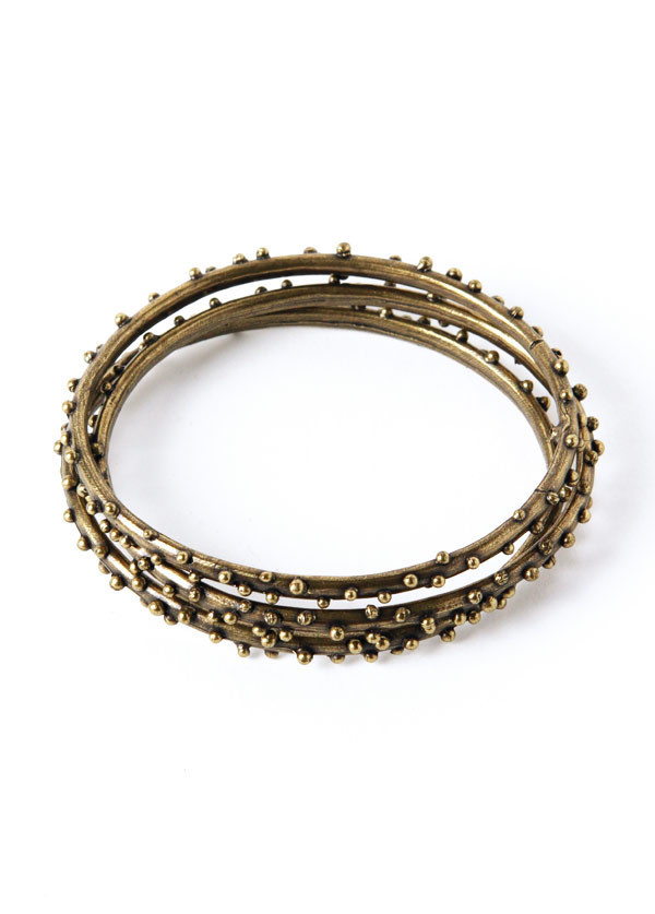 Dream Collective - Brass Single Row Braille Bangle Set of 3