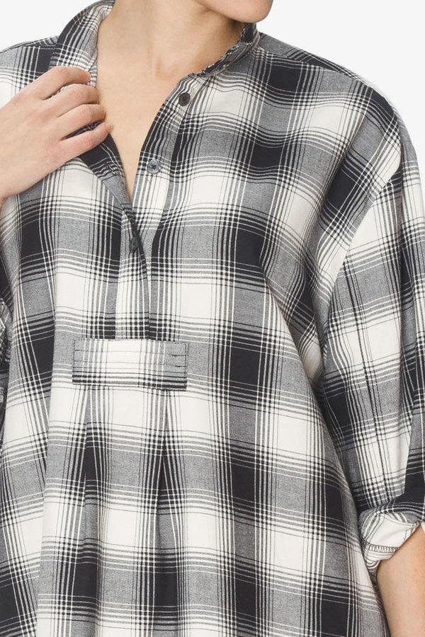 The Sleep Shirt Short Sleep Shirt Black Glen Plaid