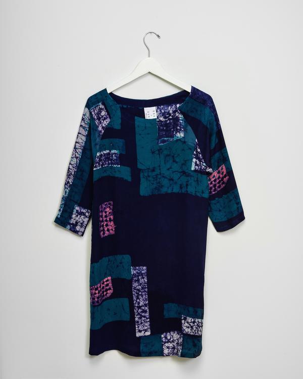 Osei-Duro Linter Dress in Navy Rubics