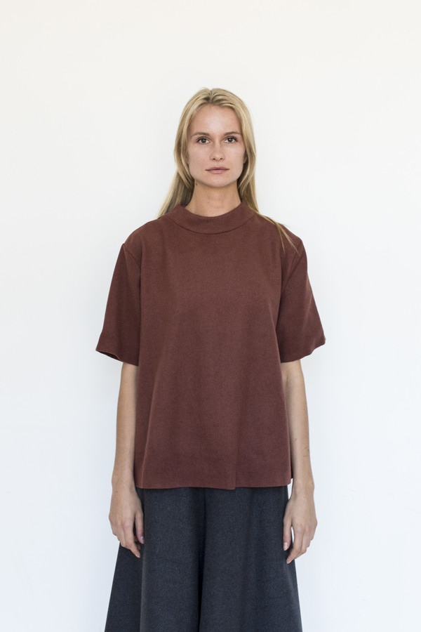 KAAREM Acrylic Mock-neck Top - Burnt Orange
