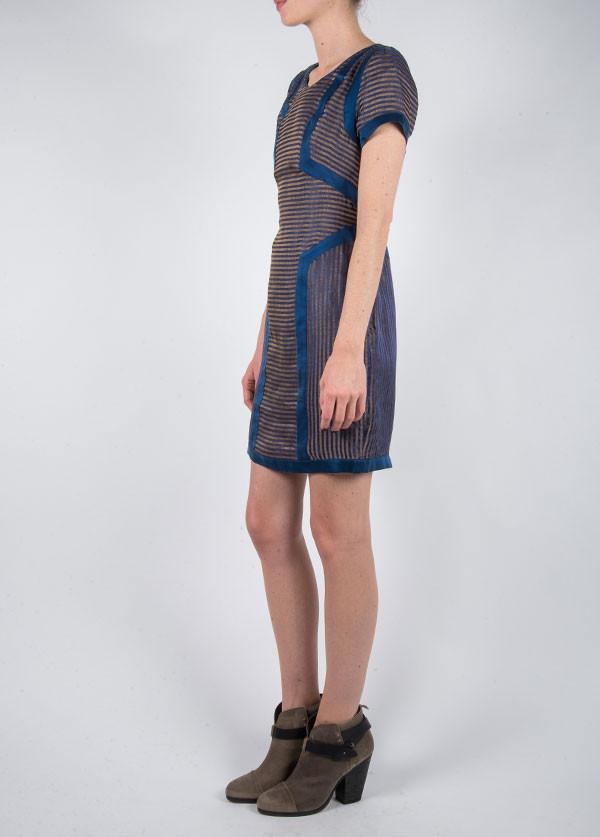 Harlyn - Sheath Dress in Navy Stripe