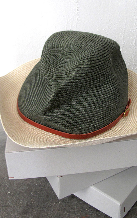 Mature-Ha Two tone Hat with Brim and leather strap