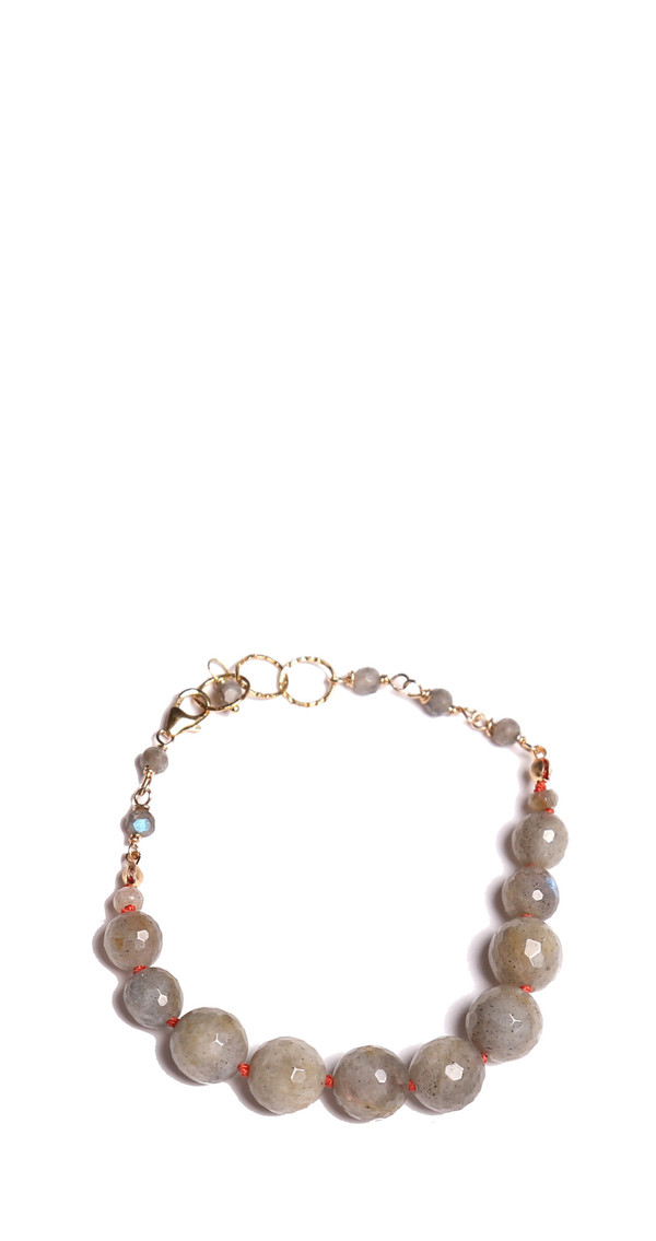 James and Jezebelle Labradorite with Coral Thread Bracelet