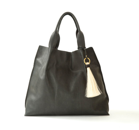 OLIVEVE maggie tote in black pebble leather with horsehair tassel