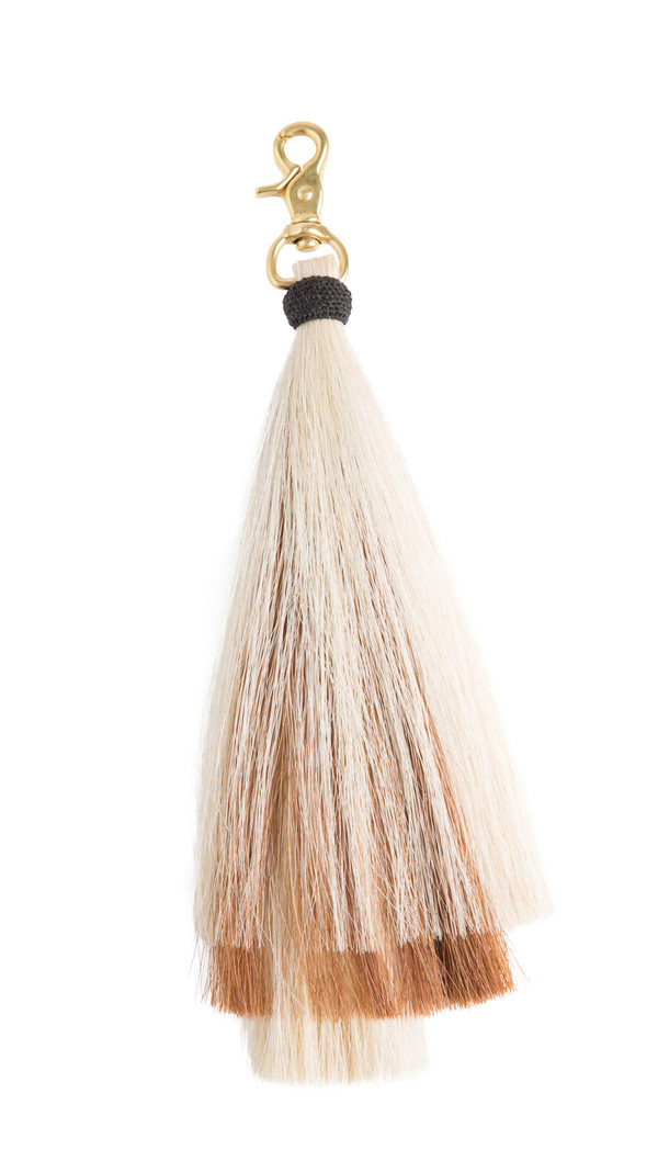 OLIVEVE triple bell horse hair tassel on brass clip-blonde/brown/blonde