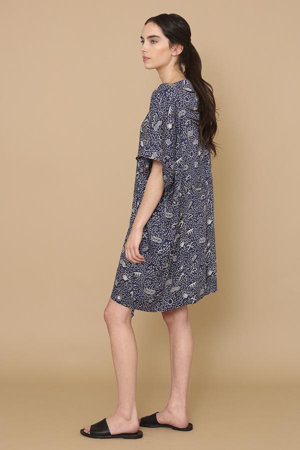 Osei-Duro Toss Kimono in Cobalt Doodle-Bop