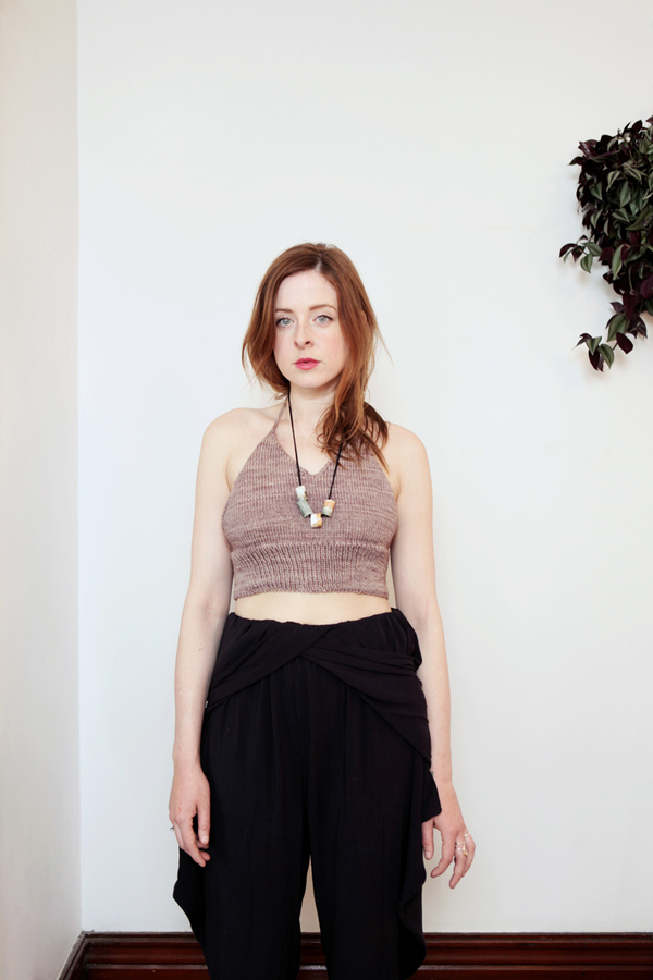 good night, day leeds hand knit halter crop top