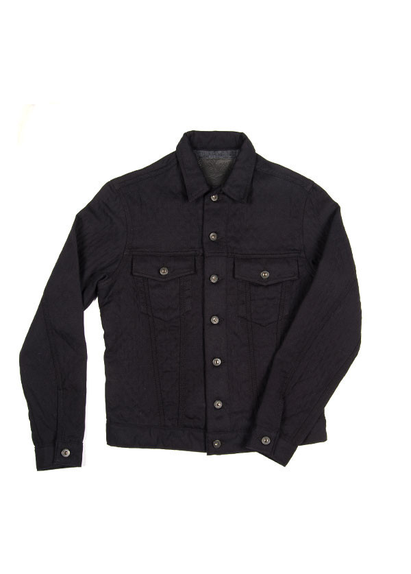 Men's Naked & Famous Denim - Denim Jacket in Quilted Cotton / Wool Black
