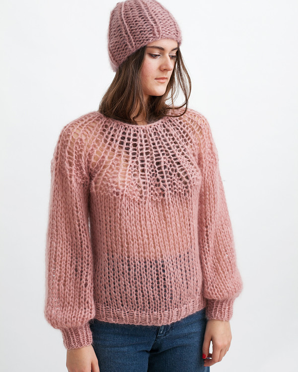 Maiami Mohair Pleated Sweater in Pink