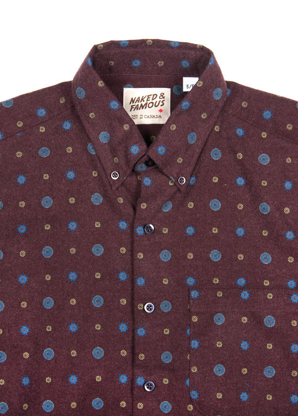 Men's Naked & Famous Denim - Regular Shirt in Printed Sheeting Burgundy