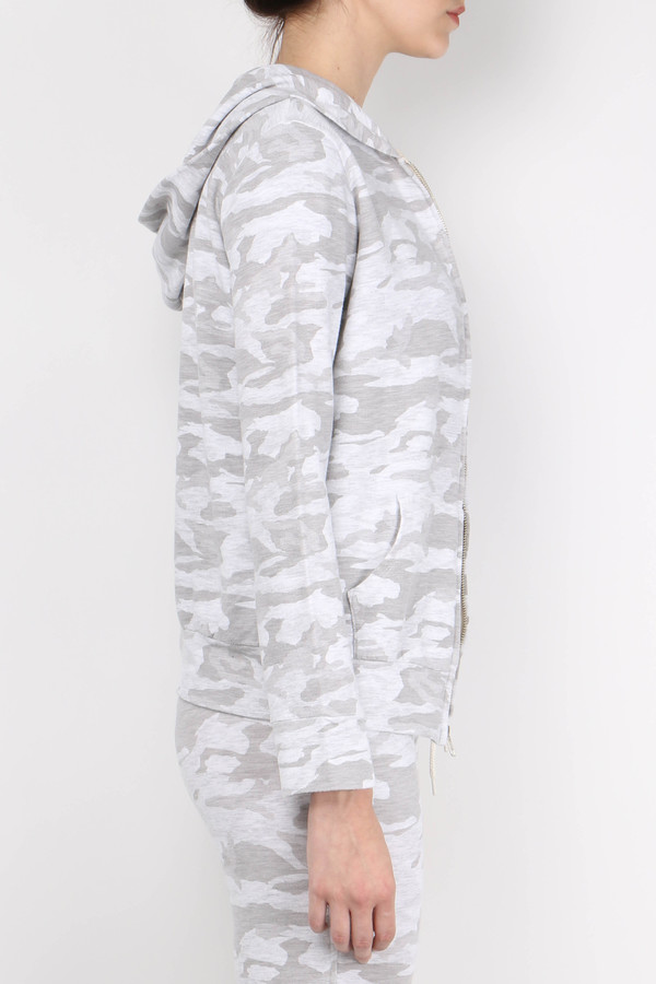 Monrow Neutral Camo Zip Up Hoody