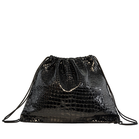 Slow and Steady Wins the Race Drawstring Backpack in Black Embossed Croc
