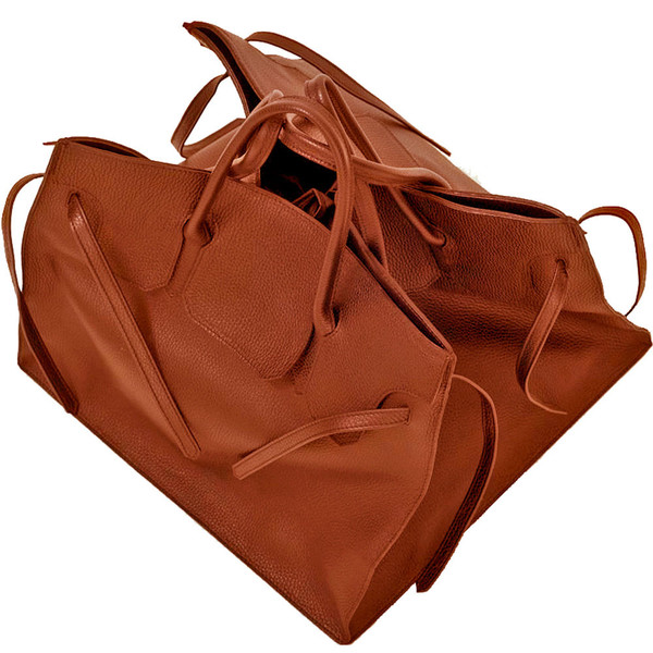 Four Sided Rectangular Bag in Cognac