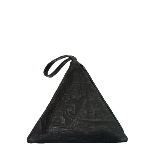 Pyramid Bag, Embossed Black