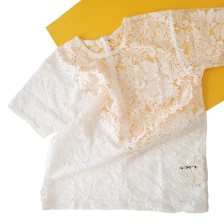 Slow and Steady Wins the Race White T-Shirt in Cream Lace