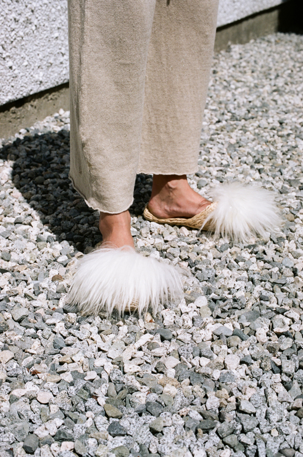 Folk Fortune Straw Slippers - lamb wool shearling