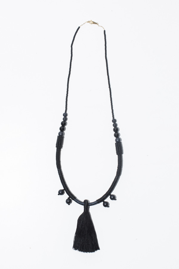 Ora-C Dom Middle Tassel Necklace - Black