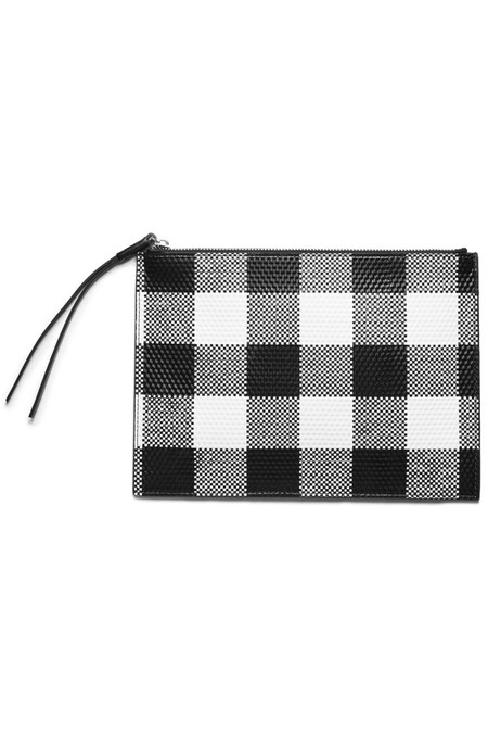 KARA Leather Gingham Flat Clutch