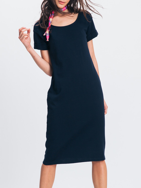 ALI GOLDEN ROLL SLEEVE T-SHIRT DRESS
