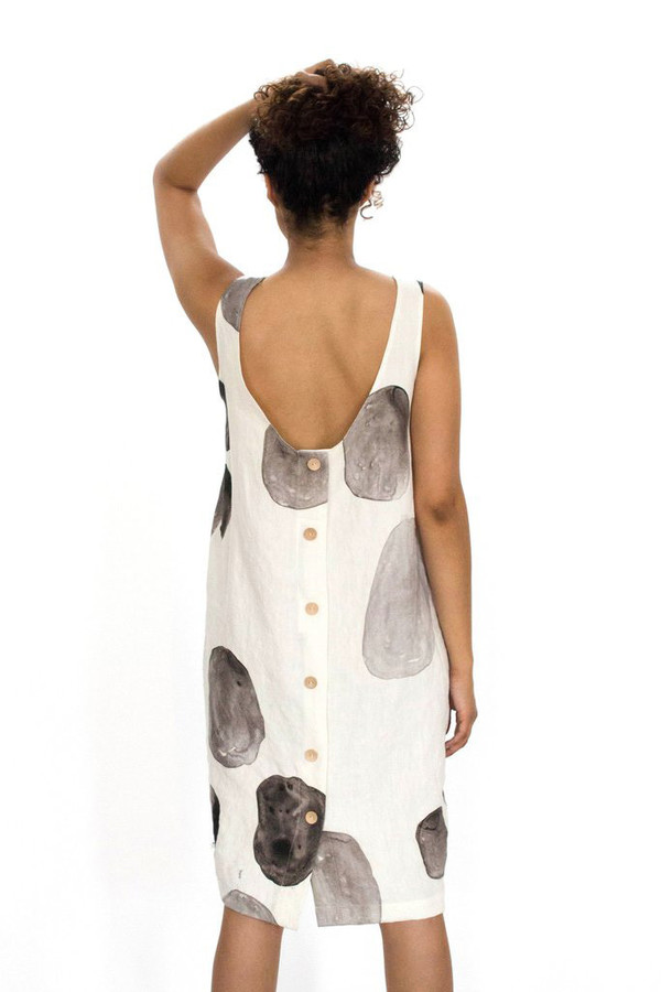 Evens Buttonback Dress in Moonrock