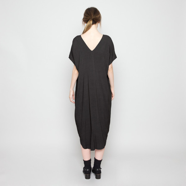 7115 by Szeki Cap Sleeve Reversible Maxi- Black FW16