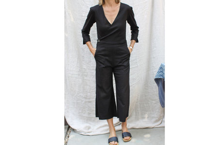 pietsie Jumpsuit in Black Stretch Linen
