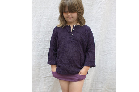 pietsie Basque Shirt in Grape Check