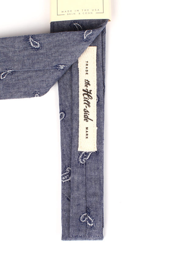 The Hill-Side - Jacquard Woven Paisley Chambray Tie