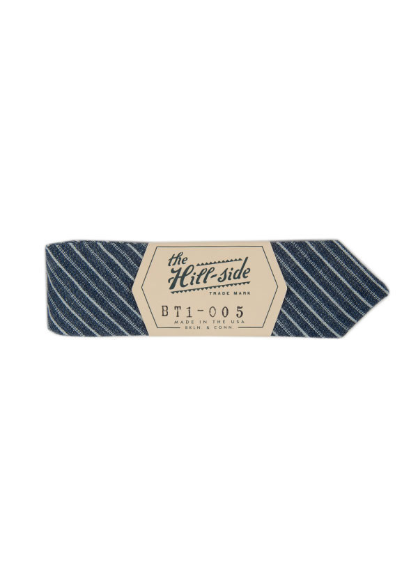 The Hill-Side - Selvedge Stripe Chambray Bow Tie, Indigo and White Stripe
