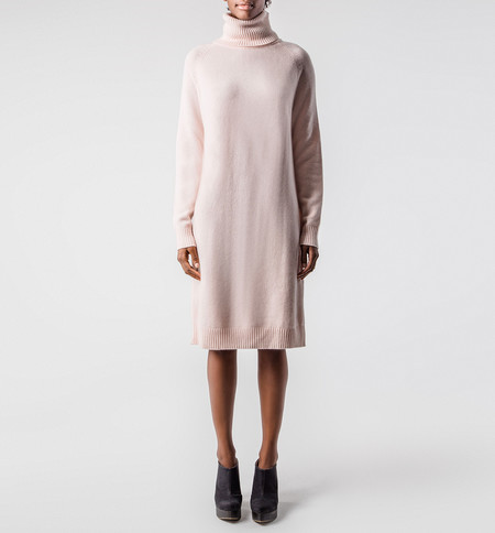 Ryan Roche Turtleneck Dress Apricot