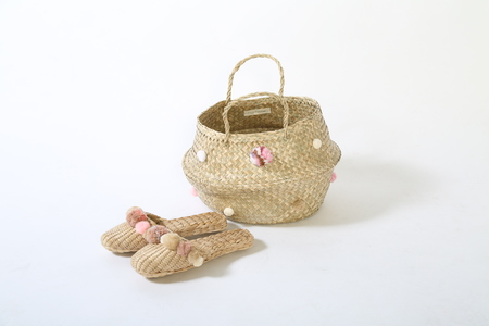 rose quartz pink basket and slipper combo