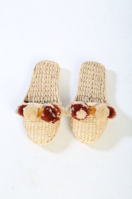 Folk Fortune Handwoven pom pom slippers in Potters Clay