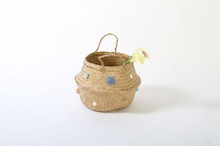 Pom pom basket, seagrass basket in Serenity Blue