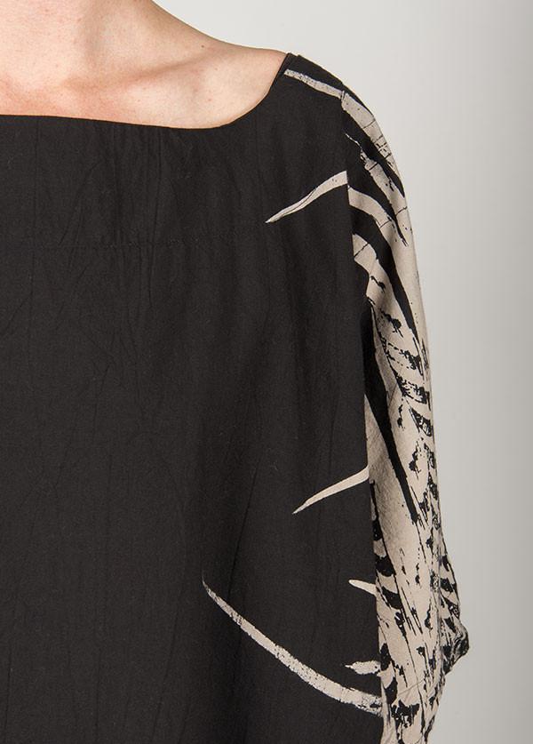 Uzi - Feather Kimono in Black