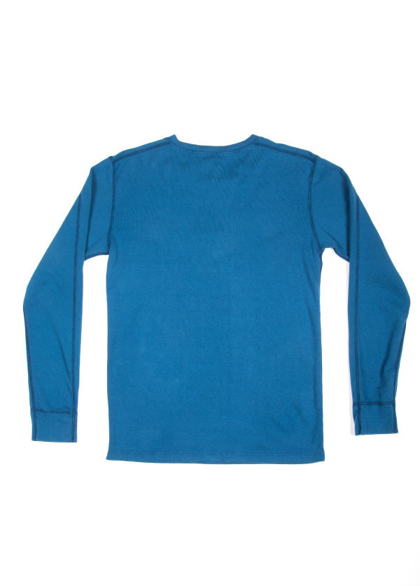 Velva Sheen - Men's Rib Knit Long Sleeved Henley in Royal Blue