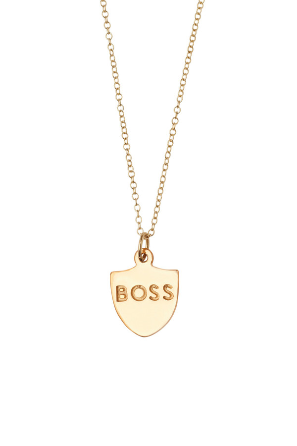 "Honey & Bloom ""BOSS"" Pendant Necklace 14k Yellow Gold"
